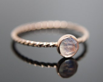 Choose your Gemstone. Single 14k rose gold stacking ring. Rose gold gemstone ring stacking ring. Dainty gemstone ring.