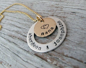 Personalized Grandma Necklace, Handstamped Jewelry, Mother's Necklace, Kids Name Necklace, Mother's Day Gift, Sterling Silver & Gold Filled