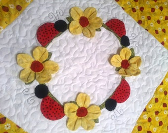 Ladybug baby quilt