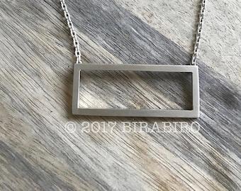 Obelisk Necklace(reimagined) - Sterling Silver Rectangle Necklace