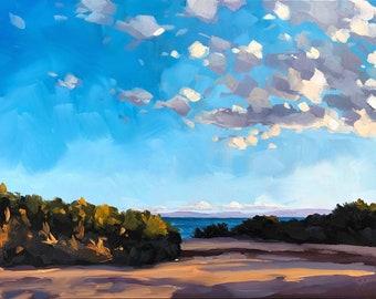 California Oil Painting -  9x12 - Carpinteria Ocean painting by Sharon Schock