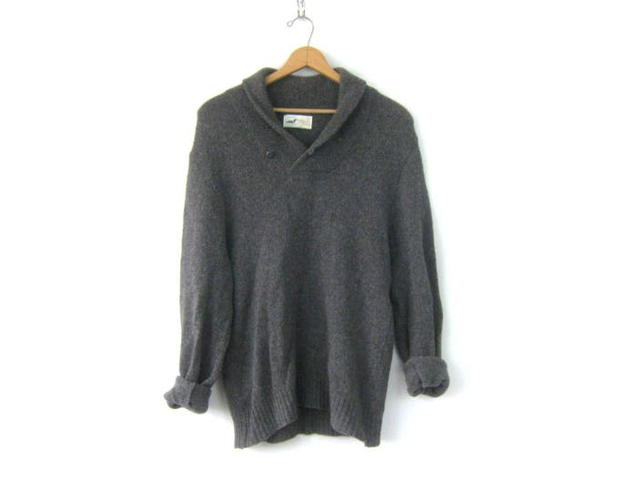 Gray Elbow Patch Sweater Grey Pullover Oversized Boyfriend Sweater Long Sweater Preppy Pullover Mens Large