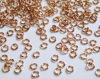 50 Rose Gold Jump Rings open round shiny 4mm 21 gauge DB35947