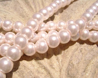 Pearlescent Glass Pearl Pearls Beads Pink 8mm Round LARGE 30mm Strand