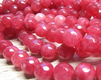 Jade Beads 8mm Rosebud Candy Faceted Rounds -  8 inch strand