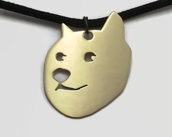 Doge Internet Meme Pendant Necklace on Black Cord Choker in Brass, Copper or Aluminium - Much geeky. Very meme. Wow.