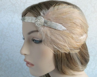 1920 Headband, Speakeasy Beaded Headpiece, Silver Headband, 20s Headpiece for Flapper Dress, Great Gatsby headpiece, Beige Bridal Hair Piece