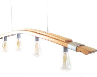Seki Saba, recycled wine barrel stave pendant light, kitchen island lighting, Edison style bulbs