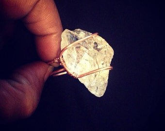 Brazilian Quartz Shard Ring with Copper Wire Wrap