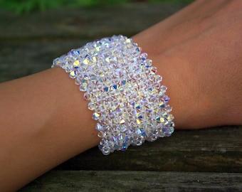 Wedding Bridal Bridesmaid Swarovski Crystal Cuff Bracelet AB Swarovski Bracelet Crystal Swarovski Jewelry Christmas Gift for Wife Sister Mum
