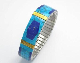 Natural turquoise and lapis lazuli extensible bracelet