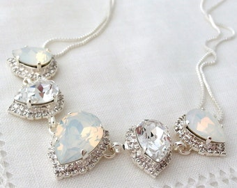 White opal and clear Swarovski crystal necklace, Bridal necklace, Statement necklace, Bib necklace, Bridesmaid gift, silver or gold, wedding