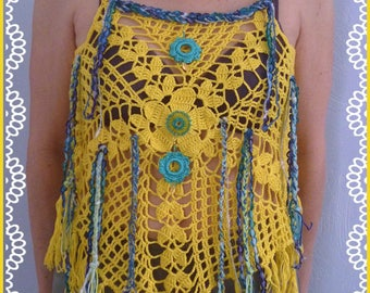 Women's fashion: top with straps, Bohemian, crocheted bright yellow cotton with small beaded jewelry.