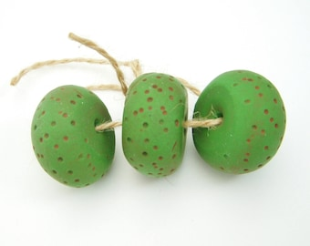 Rustic Green Beads, Textured Clay Beads, Primitive Art Beads, Rondelle, 23x14mm, 3 each, D1018