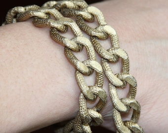 5 ft of Aluminum Chunky heavy chain Curb open link chain  21x15mm,  Antique gold plated chain, large chunky aluminum chain
