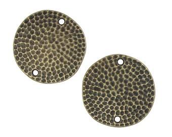 "1"" Hammertone Links Antique Brass Oxide 25mm Textured Metal Disks TierraCast Designer Collection (P1120)"