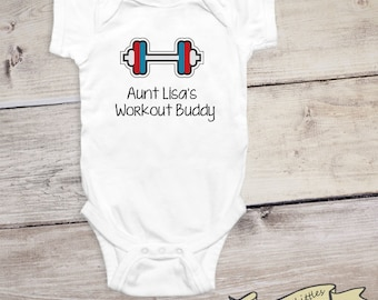 Aunt uncle stylish littles workout buddy personalized workout onesie gift aunt uncle dad weightlifting baby shirt negle Choice Image
