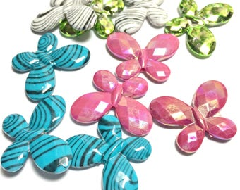 Large Butterfly Beads, Acrylic Butterfly Beads, Large colorful butterfly, butterfly beads, insect beads