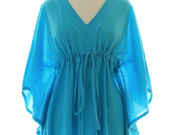 Kaftan Maxi Dress - Beach Cover Up Caftan in Turquoise Cotton Gauze - 20 Colors