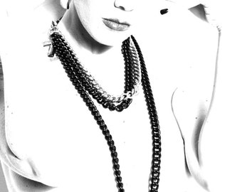 Multi Chain Black Necklace Long w. Big Metal Disk - Multi Strand Punk Chain  - Layered Gothic Necklace - Cascade Belly Length - PLUTONIAN