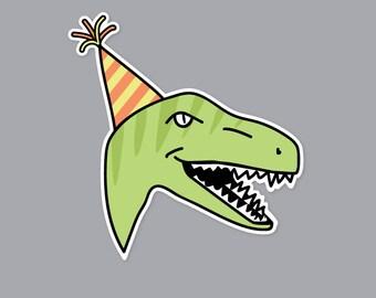 Raptor Party Hat Sticker