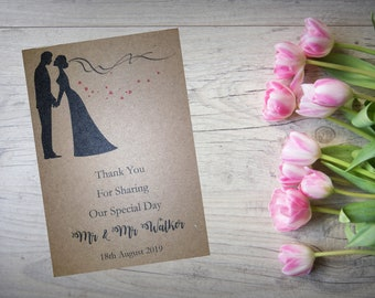 Personalised Wedding Thank You Cards with Matching Envelopes Pack Of 10 TY100