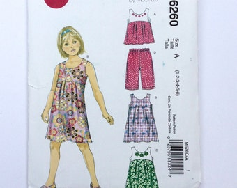 Easy Stitch 'N Save M6260, Toddler and Girls' Pattern by McCalls, Girls' Top, Dress and Capri Pants Pattern, Size 1 - 6, Uncut Pattern