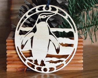 Wooden Penguin ornament Penguin wood cut design wood-cut Penguin decoration
