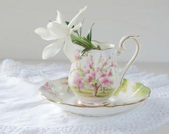 Vintage Royal Albert English Bone China Blossom Time Small Creamer, Princess Tea Party, Mini Creamer