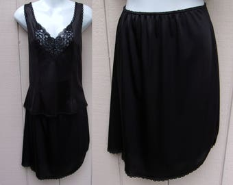 Vintage 70s Sears Black Nylon Tricot 2-piece Skirt Slip and Camisole Set // Size Med