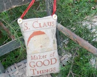 NOTFORGOTTEN FARM S. Claus Christmas primitive cross stitch pattern at thecottageneedle.com Santa Claus
