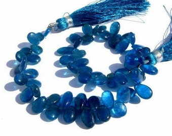 Full 8 Inches Natural Blue Apatite Smooth Polished Pear Briolettes Size 7x5 - 8x6mm Approx