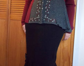 Asymmetric Color Block Rose Cardigan S/M Small Medium Recycled Earthy Art To Wear Charcoal Gray Burgundy