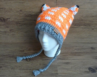 READY to ship / warm crochet Hat / Fox, Woodland / 8-12 years - adult small