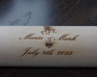 Personalized rolling pin, laser engraved rolling pin