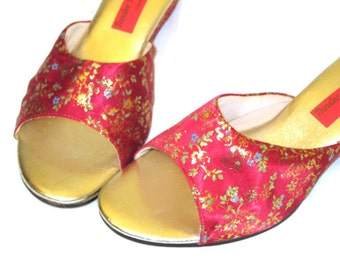 60s Slippers Womens Floral Slides Satin Shoes 60s House Shoes Hostess Slippers House Slippers Fabric Slides Red Mules Red Gold Slippers