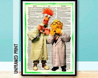 Best Teacher Appreciation Gift - Science Teacher Gift - Collectable Keepsake - Muppet Dictionary Page Art - Bunsen & Beaker - Classroom Art