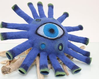Sculpture Pillow, Blue Eye Felt Pillow,  Eco Fiendly Art decoration, home interior, felt cushion, Hand Felted Wool, Eye Pillow