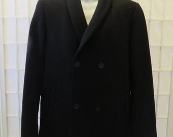 Designer Theory Black Wool Blend Shawl Collar Double Breasted Pea Style Jacket / Sm.