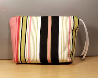 50% Off Sale: Pink and Green Striped Zipper Pouch