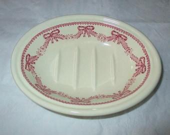 Mason's (Wedgwood) Soap Dish, Crabtree & Evelyn, London - Red Ribbons, Garlands (c. 1970s)
