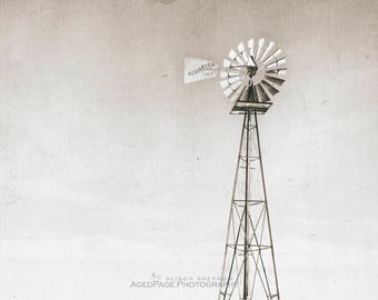 Rustic Windmill, Neutral Wall Art, Farmhouse Living Room Decor, Sepia Print, Gray Beige Landscape Photo | 'Wind Driven 2' Aged Page Series