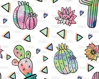 Crazy Cactus Fabric by So-Very-Cassie - Cotton/ Polyester/ Jersey/ Canvas/ Digital Printed