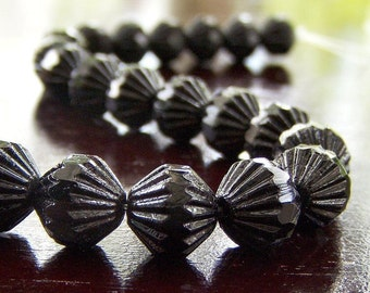 Czech Glass Opaque Jet Black Bead 9mm Fluted : 12 pc Black 9mm Bicone