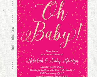 oh baby hot pink and gold glitter baby shower invitation, confetti sprinkle girl baby shower invite, printable baby sprinkle invite