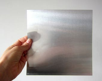 Set of 2 sheets silver color flexible aluminum square with white coating on the back