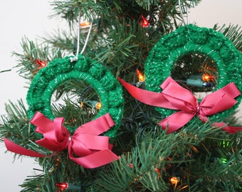 Crochet Christmas Ornaments, Set of 2, Sparkly Green Wreath with Maroon Ribbon