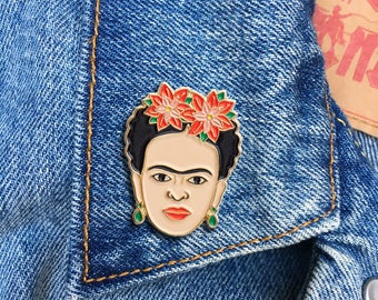 Artista de Mexico with Red Florals Pin, Soft Enamel Pin, Jewelry, Art, Artist, stocking stuffer, Gift (PIN68)