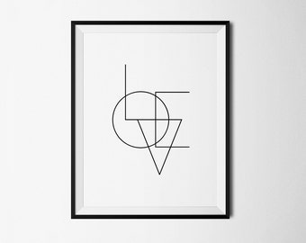 Love art, love print, love poster, love printable, abstract print, minimalist print, minimalism art, simple print, love digital, bedroom