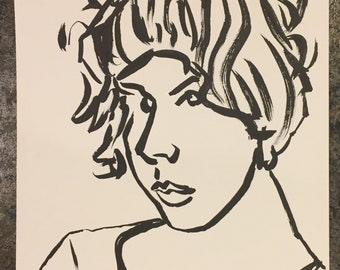 Female ink portrait painting brush and ink on paper 9x12 inches